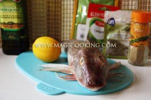 Морской петух с лимоном ароматными травами