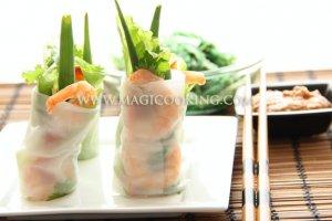 Роллы из рисовой бумаги с креветками