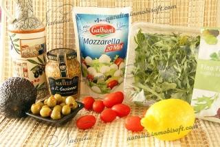 салат с моцареллой и авокадо